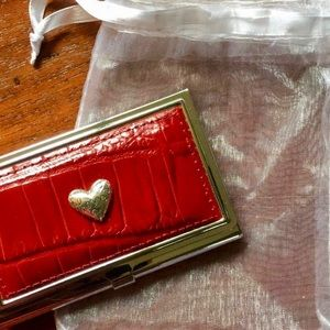 Brighton Red Leather Calling Card Case NWOT